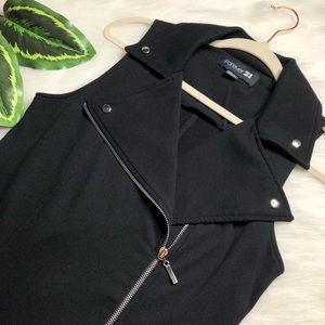 Black Zip Up Sleeveless Moto Vest FOREVER 21